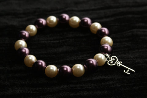 Burgundy & Cream Faux Pearls Bracelet with Silver Key Charm