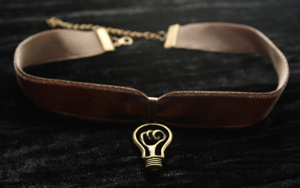 Bronze Edison Light Bulb Pendant on Velvet Choker