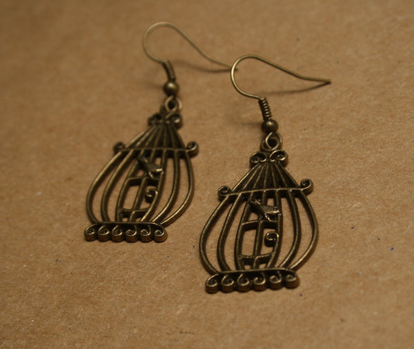 Bronze Bird in a Cage Earrings