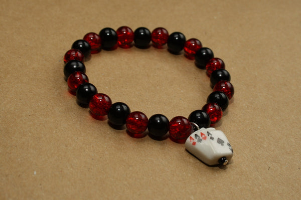 Four Aces Playing Cards Beaded Bracelet - Discontinued