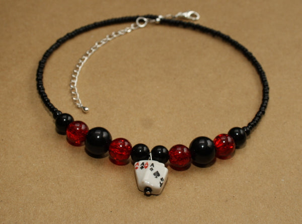 Four Aces Playing Cards Beaded Choker Necklace - Discontinued