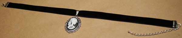White Skeleton Lady Cameo in Silver Filigree Frame on Black Velvet Choker