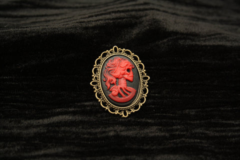 Red Skeleton Lady Cameo set in Bronze Filigree Brooch