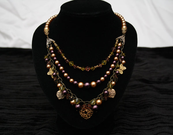 Purple & Gold Faux Pearl Triple Strand Necklace