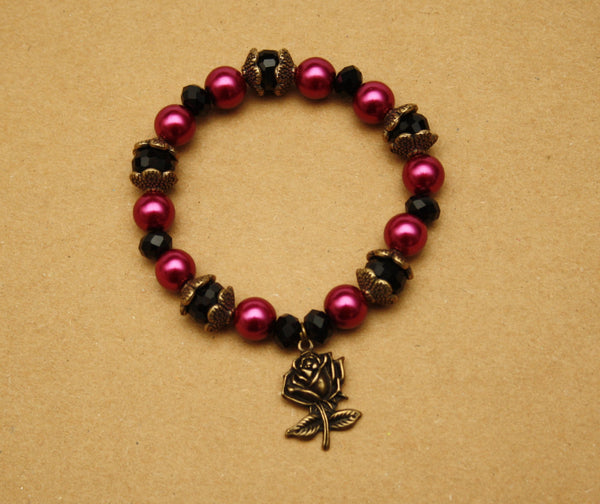 Magenta Faux Pearl Bracelet with Antique Bronze Rose Charm - Discontinued
