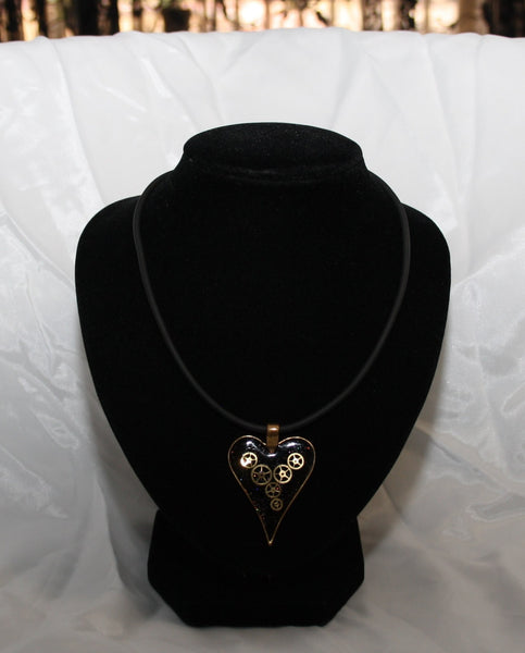 Steampunk Resin and Gears Large Bronze Heart Shaped Pendant on Black Neoprene Necklace