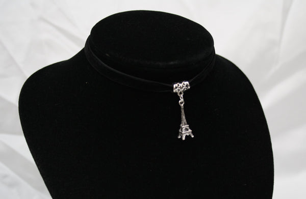Silver Eiffel Tower Charm on Black Velvet Choker