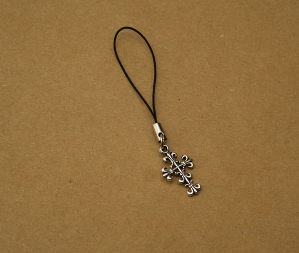 Silver Filigree Cross Mobile Phone Charm