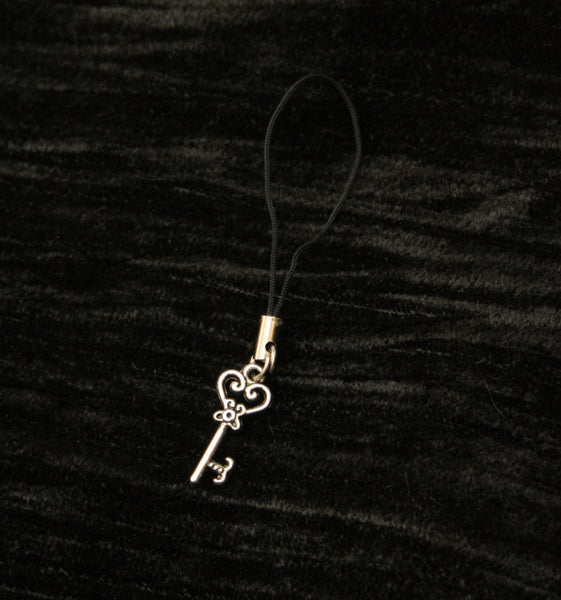 Silver Filigree Key Mobile Phone Charm