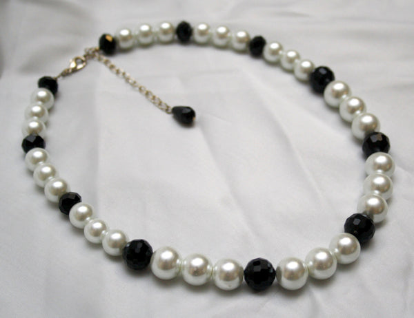 White Pearl and Black Crystal Necklace