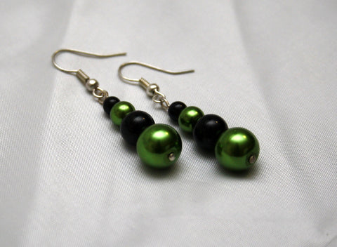 Lime Green and Black Faux Pearl Earrings