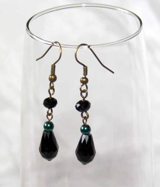 Teal Pearls & Black Crystals Earrings