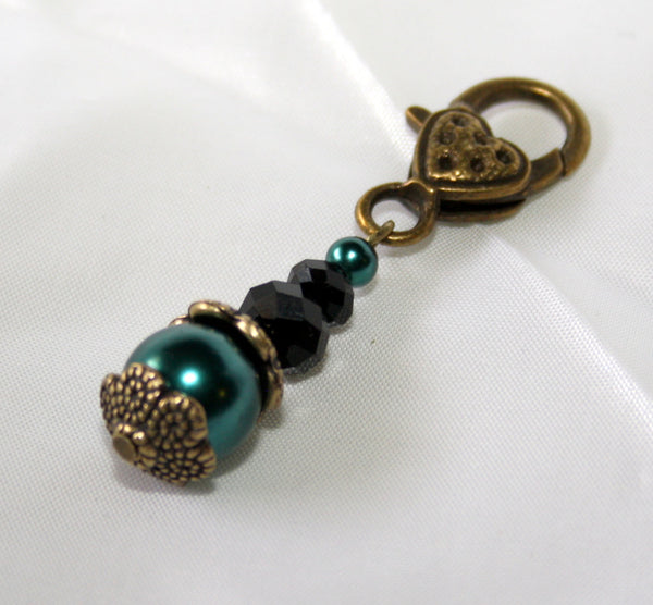 Teal Faux Pearl Antiqued Bronze Clip-on Charm with Black Crystals