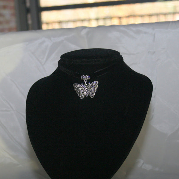 Silver Filigree Butterfly Pendant on Burgundy Velvet Choker