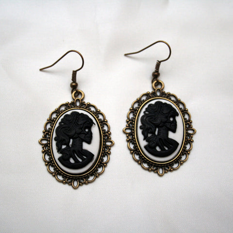 Black & White Skeleton Lady Cameo set in Bronze Filigree Pendant Earrings