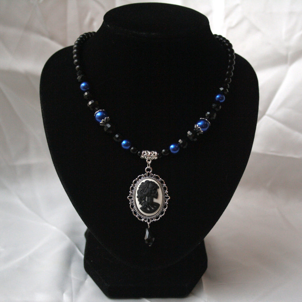 Blue Pearls & Black Crystals Skeleton Lady Cameo Necklace