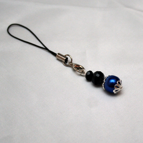 Blue Pearls & Black Crystals Silver Mobile Phone Charm