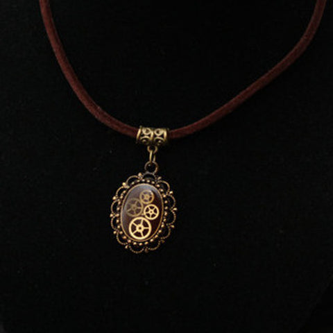 Steampunk Resin and Gears Small Bronze Oval Filigree Pendant on Brown Velvet Cord Necklace