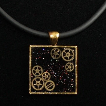 Steampunk Resin and Gears Medium Bronze Square Pendant on Black Neoprene Necklace