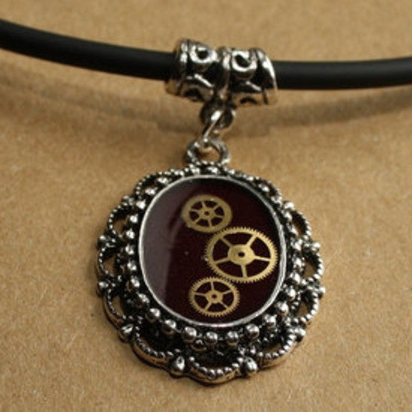 Steampunk Resin and Gears Small Silver Oval Filigree Pendant on Black Neoprene Necklace