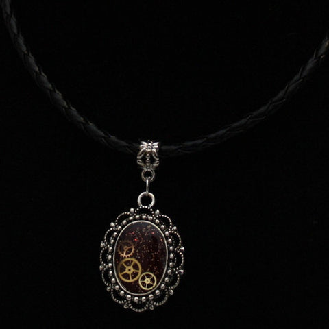 Steampunk Resin and Gears Small Silver Oval Filigree Pendant on Black Braided Faux Leather Necklace