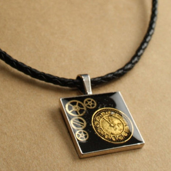 Steampunk Resin and Gears Medium Silver Square Pendant on Black Braided Faux Leather Necklace