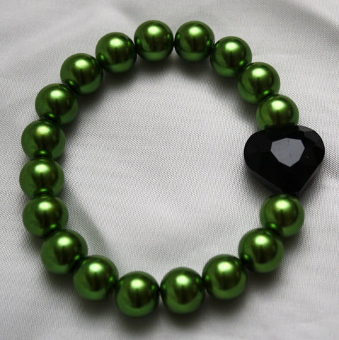 Lime Green & Black Crystal Heart Bracelet