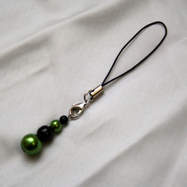 Lime Green and Black Pearl Mobile Phone Charm