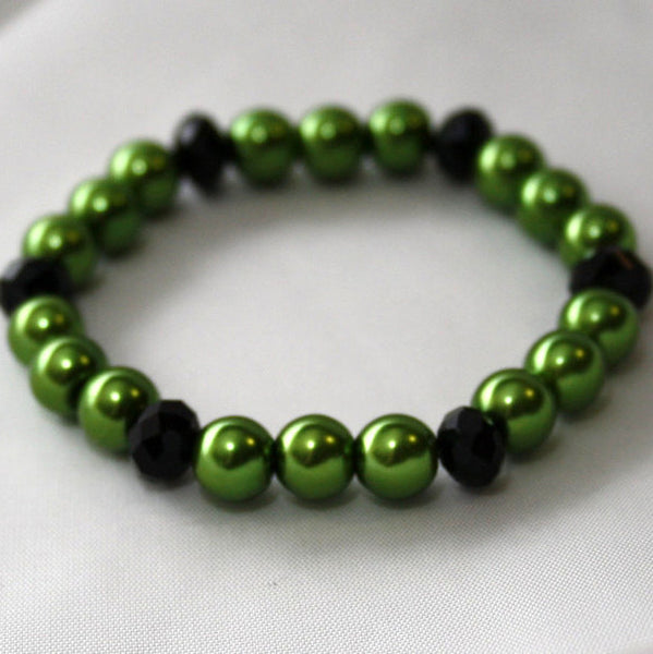 Lime Green Pearl & Black Crystal Bracelet