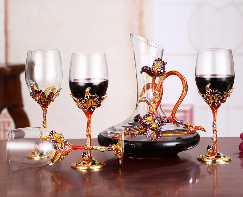 Hand blown and painted goblet and decanter - Exclusive to Decorfaure