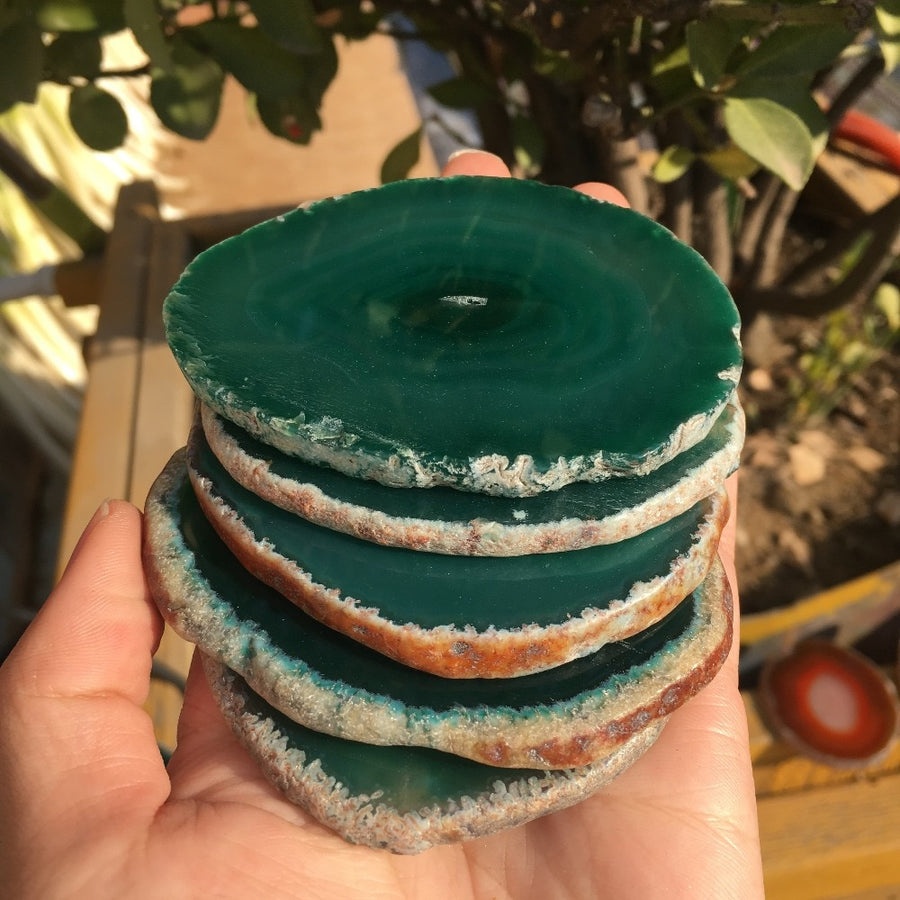 Natural Green Agate Coasters