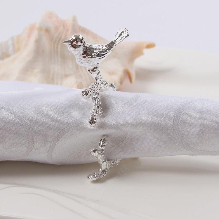 Bird & Flower Napkin Rings - 4 pieces