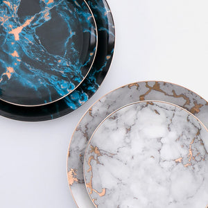Marvelous Marble Pattern Plates with Gold Inlay