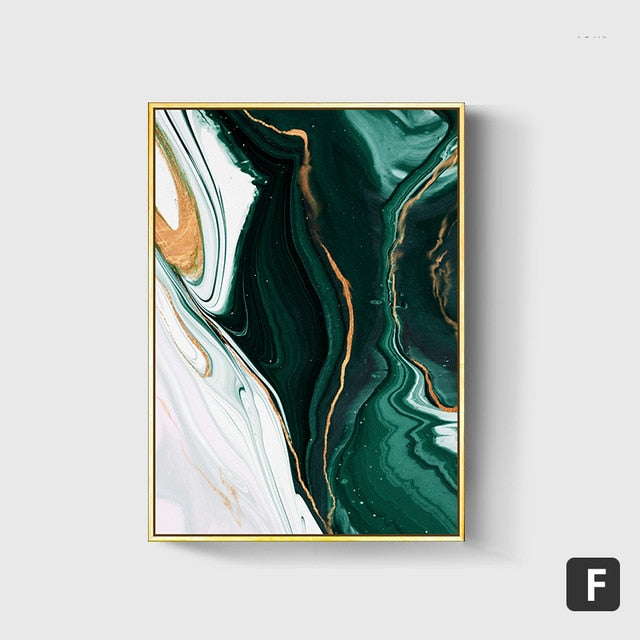 Abstract Gold and Green Lines