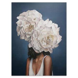 Flower Woman Canvas Wall Art