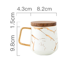 Marble Pattern Coffee Mug With Gold Inlay