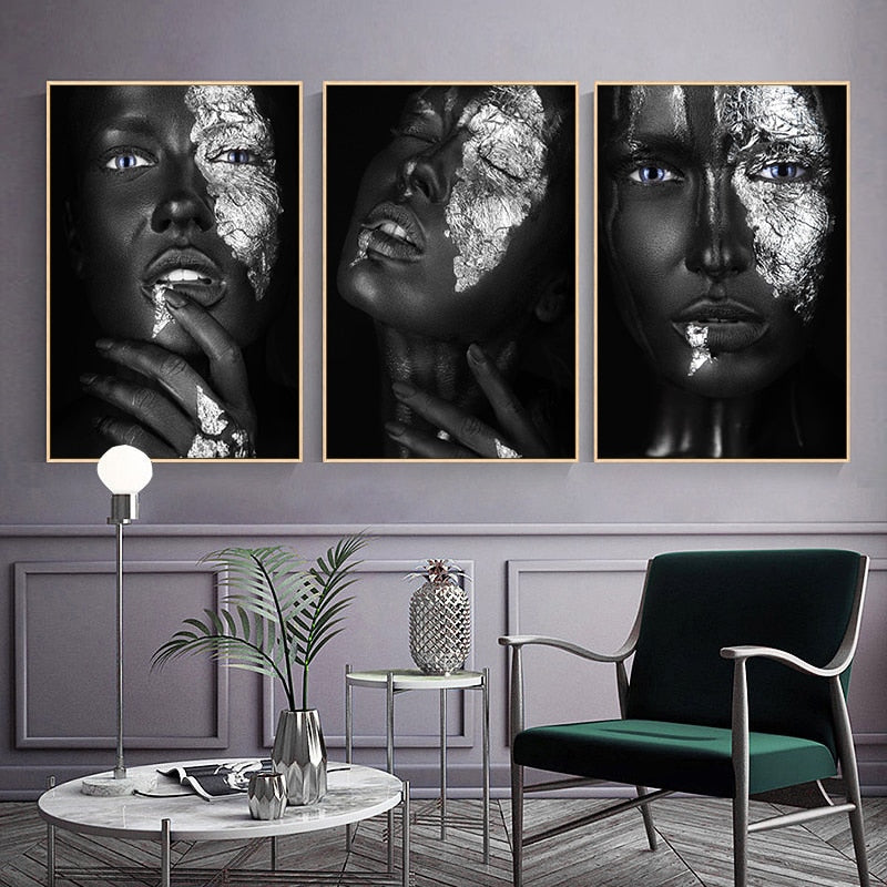 African Woman Wall Art In Sliver