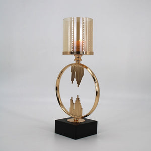 Ring Metal & Glass Candle Holder