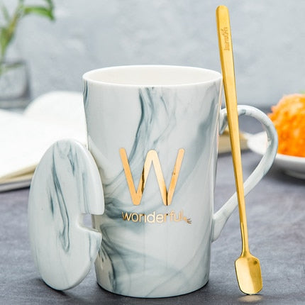 Marble Pattern Porcelain Mug with  Spoon