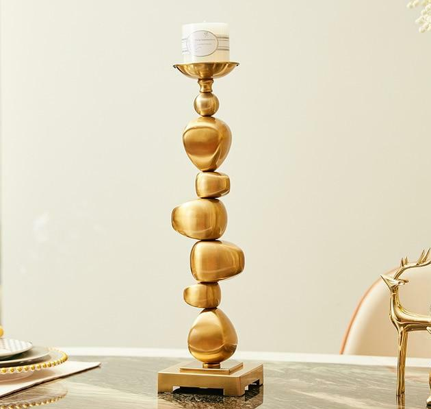 Stone Stack Alloy Candle Holder