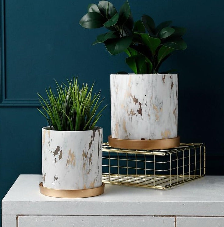 Hand Made Planter With Gold Tray