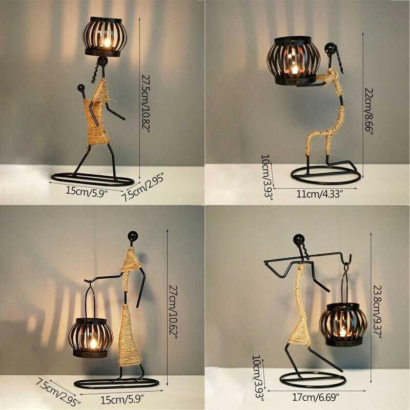 Metal Candlestick Abstract Sculpture Candle Holder - Handmade