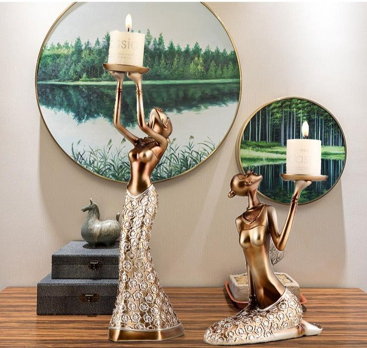 Golden Lady Candle Holders