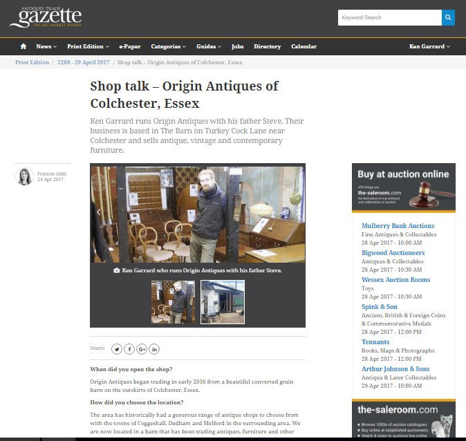 Origin Antiques In the Antiques Trade Gazette