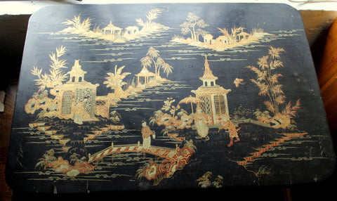Victorian Antique Japanned Work Tablewith Sewing Box and Oriental Hand Painted Scenery Top of Lid