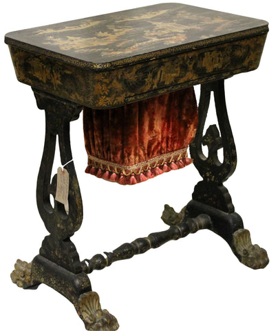 Victorian Antique Japanned Work Table with Velvet Sewing Bag
