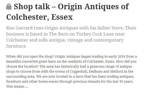Origin Antiques featuring in the 'Shop Talk' section of the Antiques Trade Gazette