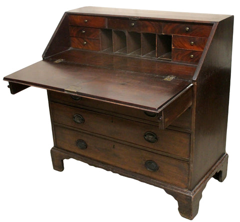Georgian Antique Mahogany Drop Flap Bureau