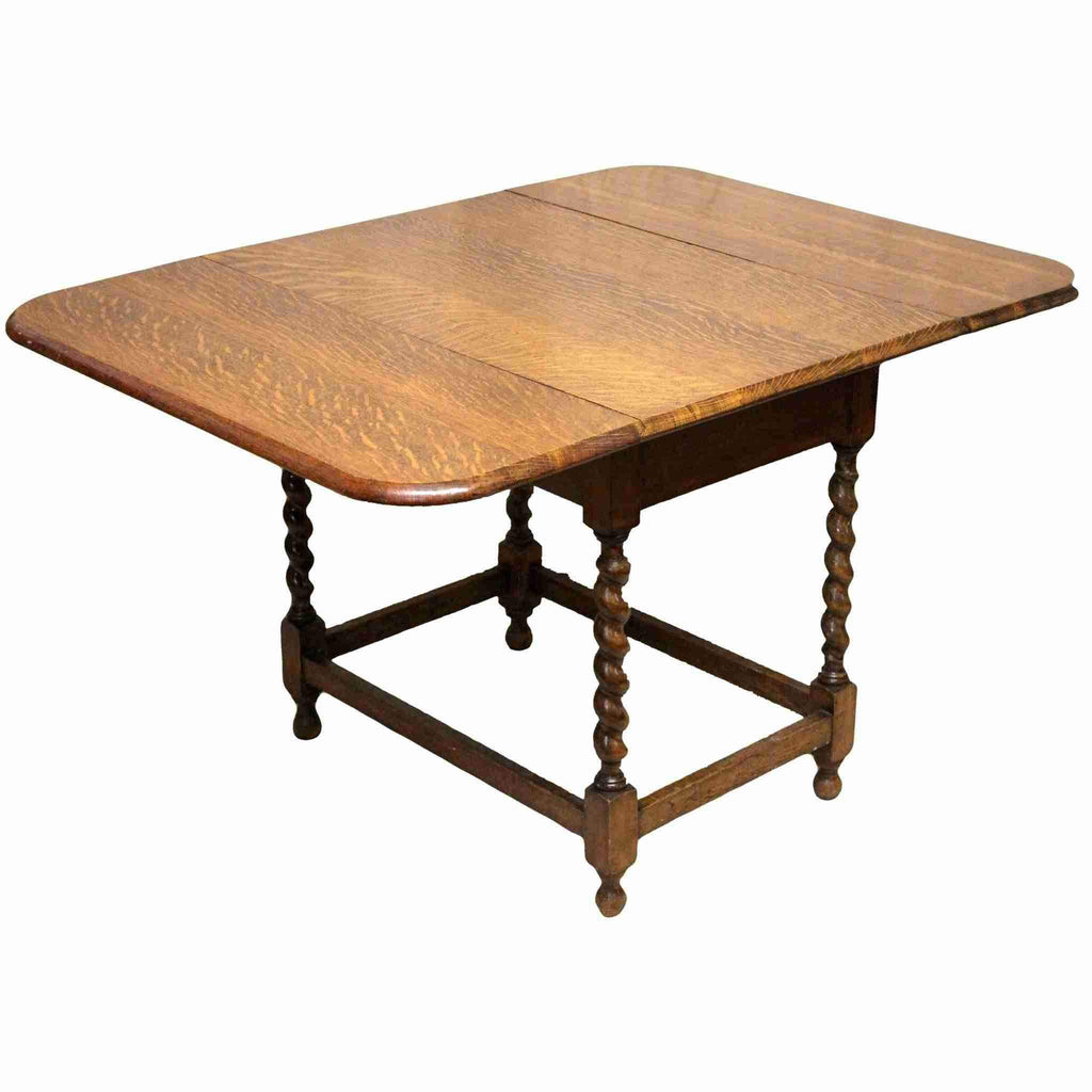 Antique Oak Drop Leaf Dining Table On Barley Twist Legs Origin Antiques