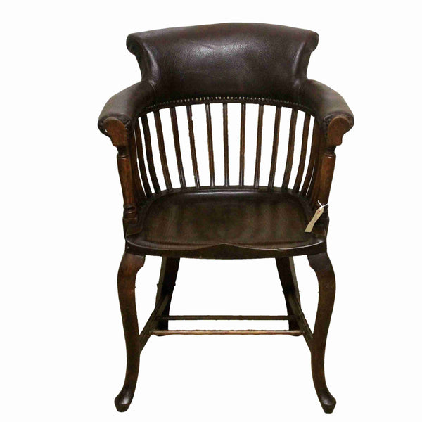 Antique Style Oak Captains Desk Chair-Origin Antiques